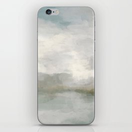 Modern Abstract Painting, Light Teal, Sage Green, Gray Cloudy Weather Digital Prints Wall Art, Ocean iPhone Skin