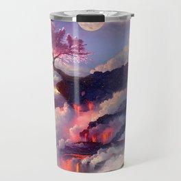 Sakura tree in clouds Travel Mug