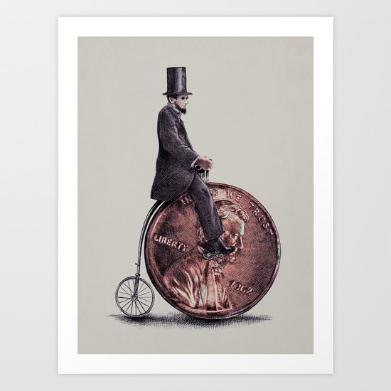 Penny Farthing (grey option) Art Print