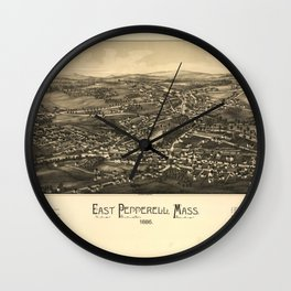 Aerial View of East Pepperell, Massachusetts (1886) Wall Clock
