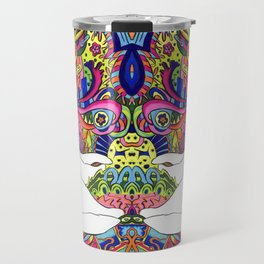 Psychedelic White Cat Travel Mug