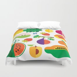 Fruit Medley White Duvet Cover