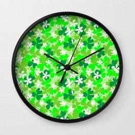 St Patrick's Day Shamrocks Pattern Wall Clock