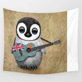Baby Penguin Playing Fiji Flag Acoustic Guitar Wall Tapestry