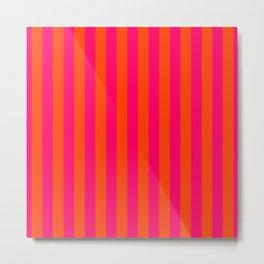 Super Bright Neon Pink and Orange Vertical Beach Hut Stripes Metal Print