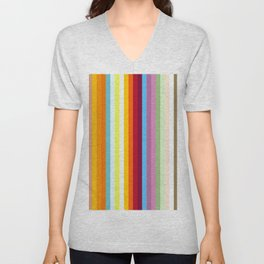 Multicolored Retro Stripes Mngwa Unisex V-Neck