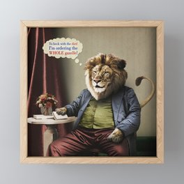 Hungry Lion Framed Mini Art Print