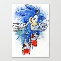 sonic youth Canvas Prints featuring Sonic by Luke Jonathon Fielding