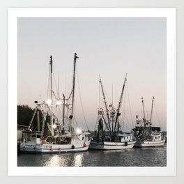 Fishing Boats on the Water at Sunset Art Print