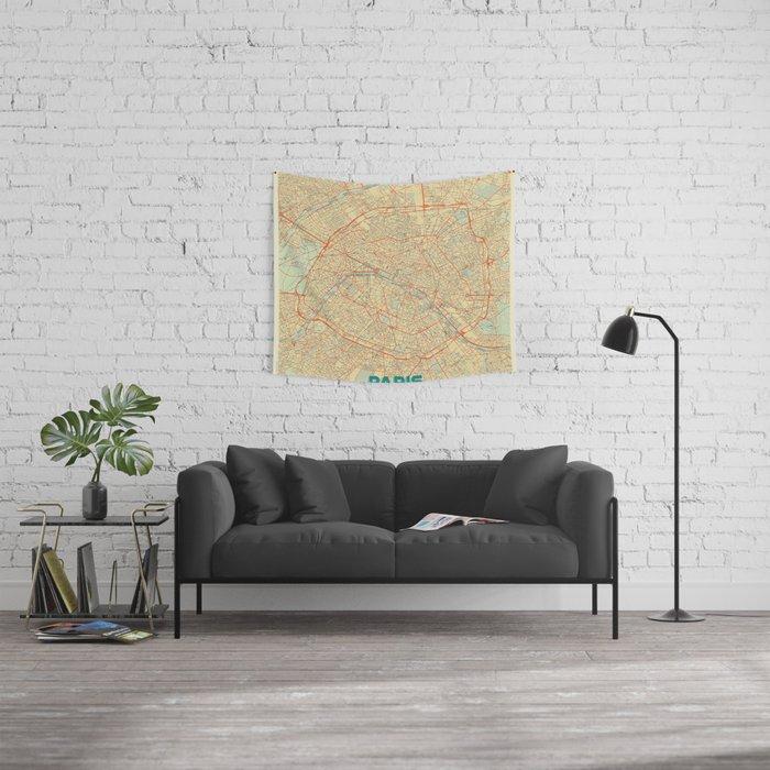 Paris Map Retro Wandbehang