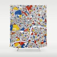 mondrian Shower Curtains featuring London Mondrian by Mondrian Maps