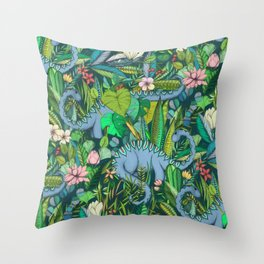 Improbable Botanical with Dinosaurs - dark green Throw Pillow