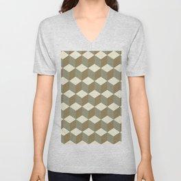 Diamond Repeating Pattern In Meerkat Brown and Grey Unisex V-Neck