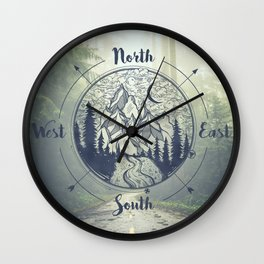 Compass Mountain Road Trip Wall Clock