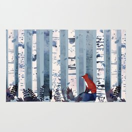 The Birches (in Blue) Rug