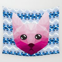 kitty Wall Tapestries featuring Kitty by Ficus and Fern Art