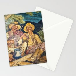 Texas Ranger Troop in Camp Singing with Guitar, WPA Mural landscape painting by Ward Lockwood Stationery Cards