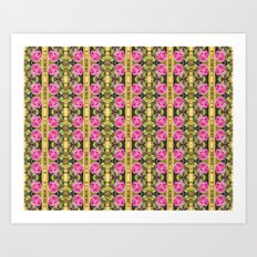 Pink roses with golden stripes pattern Art Print
