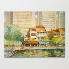 Singapore River watercolor painting id1270367 Canvas Print
