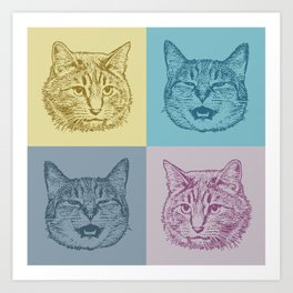 Cat Squares Art Print