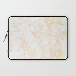 White Marble Pastel Pink and Gold by Nature Magick Laptop Sleeve