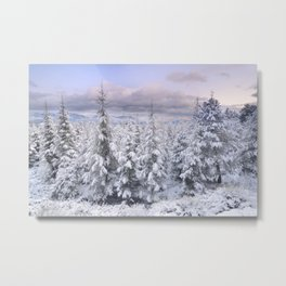 Snow time. Sunset at the mountains Metal Print
