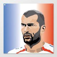 zidane Canvas Prints featuring Zinedine Zidane Illustration by Stephanie Post