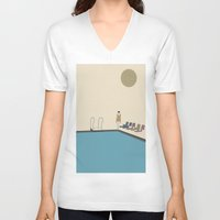 swimming V-neck T-shirts featuring Swimming by Jarom Ward