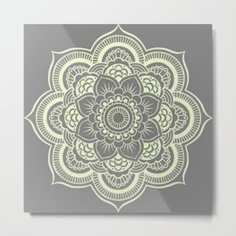 Mandala Flower Gray & Pastel Yellow Metal Print