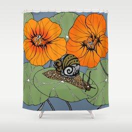 Snail on Nasturtiums Shower Curtain