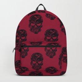 Human Skulls Pattern Red Backpack
