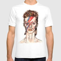 Bowie Inspired David White Mens Fitted Tee LARGE