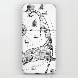 Vintage Map of Cape Cod BW iPhone Skin