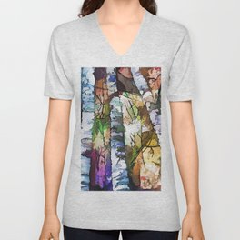White Aspen and  Birch Trees Contemporary Art Unisex V-Neck