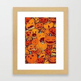 Halloween pumpkin pattern Framed Art Print