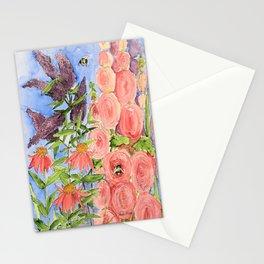 Cottage Garden Butterfly Bush Watercolor Illustration Stationery Cards