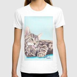 Original Pet Animals Artwork (non-profit) - Tabby Kitten Cat Pastel T-shirt
