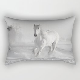 White Thoroughbred Horse Playing in Winter Snow black and white photograph / art photography Rectangular Pillow