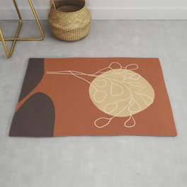 Minimalist line art landscape with a leafy tree, minimal lines and shapes artwork in autumn colors Rug