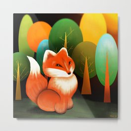 Brave Fox In The Forest Metal Print