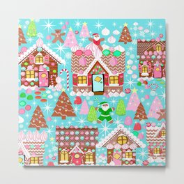Gingerbread House Christmas  Xmas Holiday Gingerbread Man, ladies & kids Gingerbread Metal Print