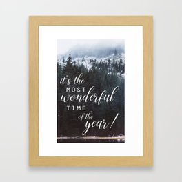 holiday greeting forest photo card Framed Art Print