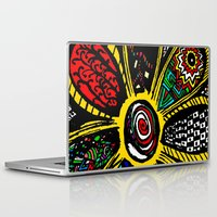 hippy Laptop & iPad Skins featuring Patchwork Hippy Flower by Silvio Ledbetter