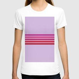 Red Retro Stripes 70s Style On Pink - Mitsumasa T-shirt