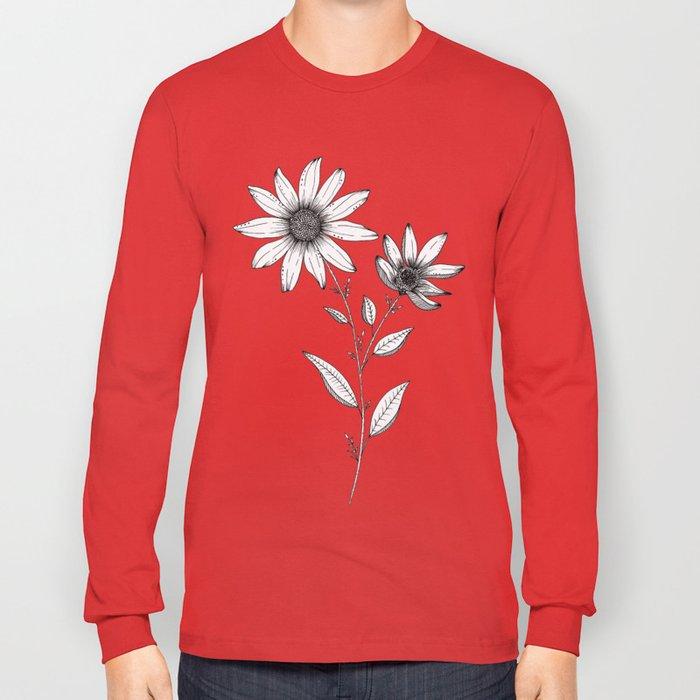 Wildflower line drawing | Botanical Art Long Sleeve T-shirt