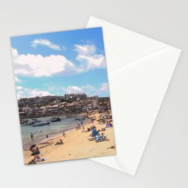 British Beach scene illustration, St Ives, English holiday resort Stationery Cards