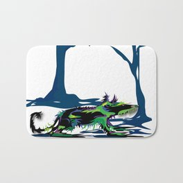 """Wolfdog"" Paulette Lust Original, Contemporary, Whimsical, Colorful Art Bath Mat"