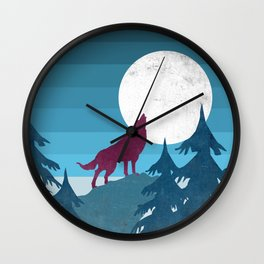 Wolf in the woods Wall Clock