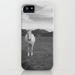 Happy White Horses - Black and White - Sun Valley, Idaho iPhone Case