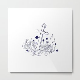 Anchor at the bottom of the sea Metal Print